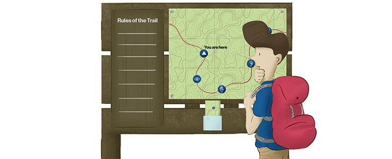Man with Backpack looking at trail map> <!--kg-card-end: markdown--><!--kg-card-begin: markdown--><p><span id=